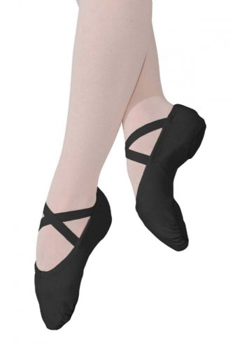 Roch Valley STRETCH CANVAS Ballet Shoes Split Suede Sole Black Fitted X-Elastics
